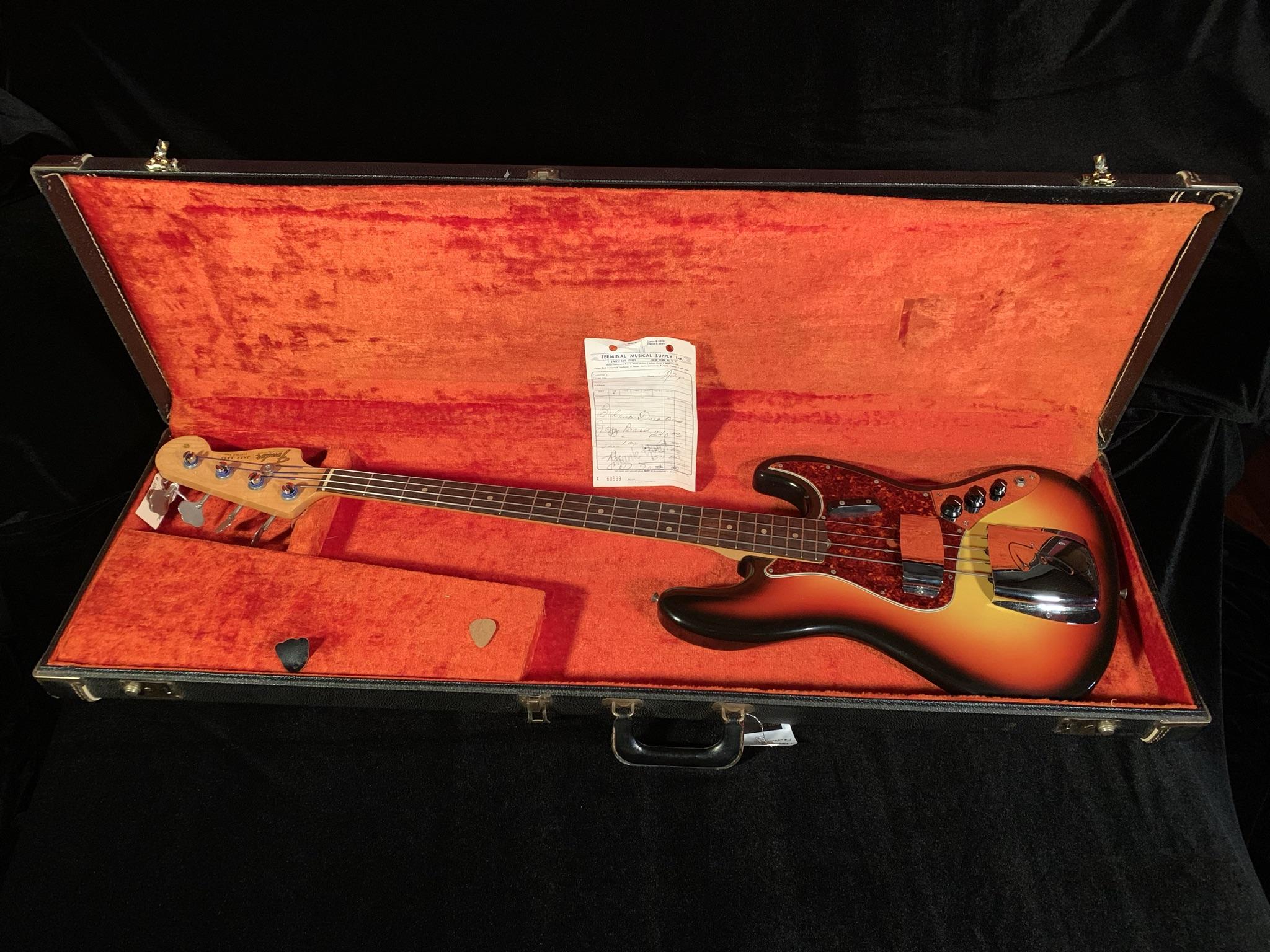 1965 Fender Jazz Bass Sunburst SN# 100423 $15,000.00